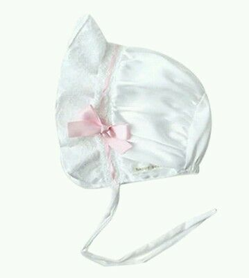 WHITE Baby bonnets traditional bonnet silk pink ribbon Christening UK Hat PINK