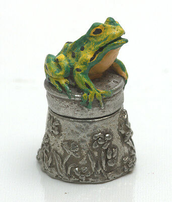Stephen Frost Hand Painted English Pewter 'Frog' Thimble