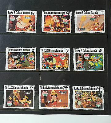 Complete MNH set of 9 from Turks & Caicos Is. Disney