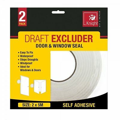 2 Pack 5m Draft Draught Window Door Excluder Seal Tape Self Adhesive Waterproof