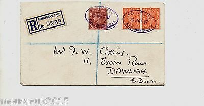 GB 1947 B.I.F COVER RUBBER OVAL CANCEL TIE KGVI 1½d+2x 2d VALUES SENT TO DAWLISH