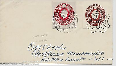 GB 1950 COVER WITH CUT-OUTS 2½d RATE. UNUSUAL. MALTESE CROSS CANCEL