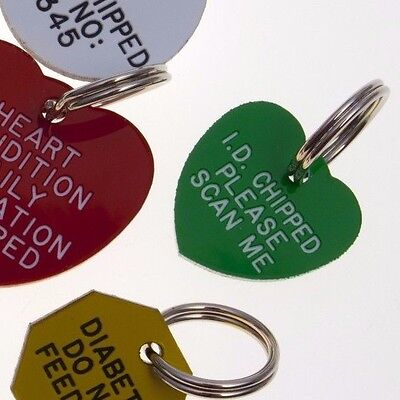 Quality Engraved Pet tag - Mini  20mm Heart acrylic 6 couloirs