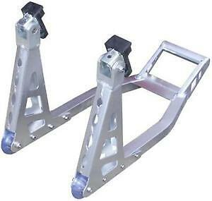 MOTORCYCLE  MOTORBIKE FRONT ALUMINIUM Light weight PADDOCK STAND SILVER NEW