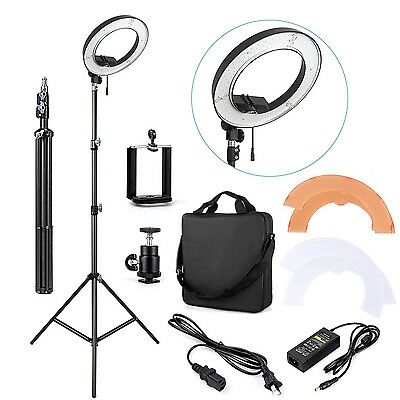 "AU ES180 LED 13"" 180pcs 36W 5500K Dimmable Ring Light, Diffuser, Light Stand"