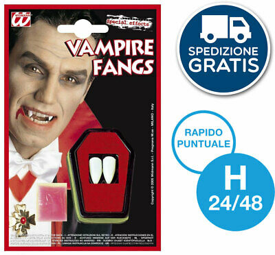 Denti Canini Da Vampiro Dracula Professionali Trucco Viso Make Up Halloween