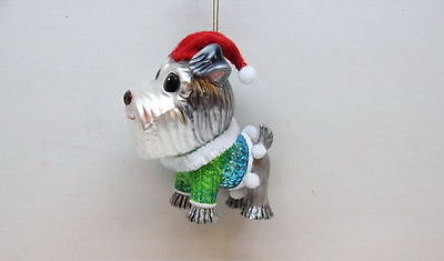 79-80378 December Diamonds Schnauzer w/Hat Sweater Dog Glass Christmas Ornament