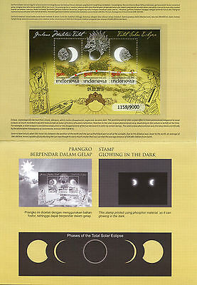 Indonesia 2016 MNH Total Solar Eclipse 3v M/S Stamp Pack Glow in Dark Stamps