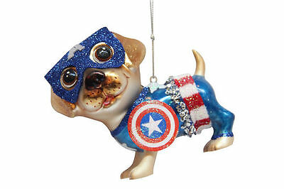79-80528 December Diamonds Captain America Dog Hero Glass Christmas Ornament