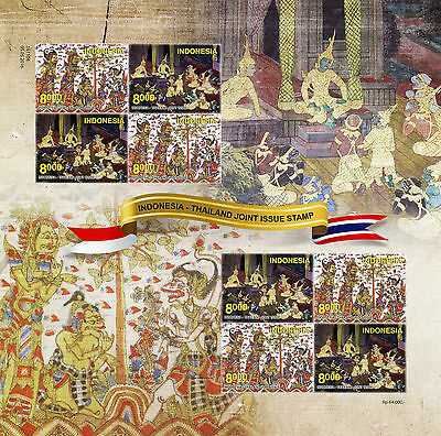 Indonesia 2016 MNH JIS Thailand Joint Issue 8v S/A M/S Art Paintings Stamps