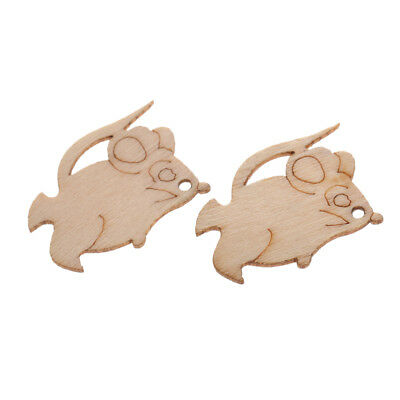 Pack/10 Vintage Mini Wooden Mouse Embellishment Craft Wedding Decoration