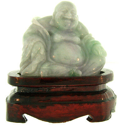 Natural Carved Green & Lavender Jadeite Jade Seated Buddha Statuary w/Wood Stand