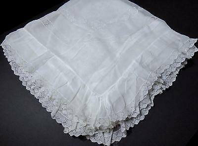 "French Pillow Sham - Lg. 40"" Torchon Lace & Delicate Embroidery on Cotton Voile"