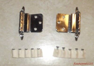 2 Vintage Amerock Wrought Steel Chromium Chrome Plated Hinges w Screws A-7638-26