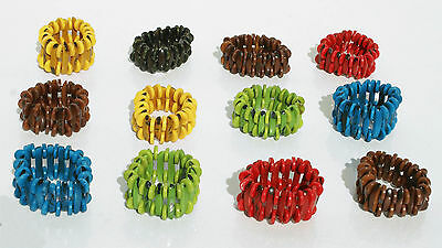 Lot 6 Colored Bead Bracelets Natural Tagua Nut Eco Jewelry Wholesale Ecuador