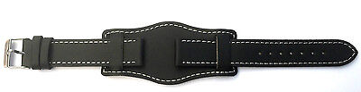 24mm BLACK Genuine Quality LEATHER STRAP Military Cuff Watch Strap Band and Pins