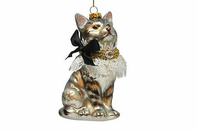 79-80581 Cat With Lace Blk Bow Glass Ornament December Diamonds Christmas
