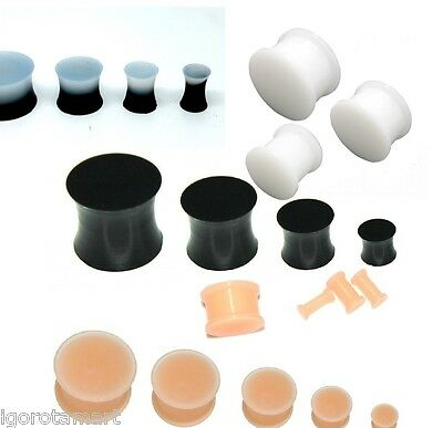 Black White Silicone Flesh Tunnel Ear Plug Earring Stretcher Expanders 3mm -25mm