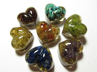 Set of 7 HEALING ORGONITS - small hearties - chakra set with natural stones