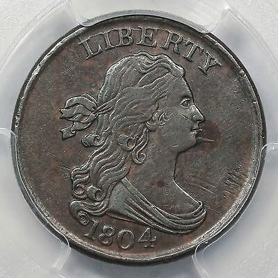 1804 C-8 PCGS XF 45 Spiked Chin Draped Bust Half Cent Coin 1/2c