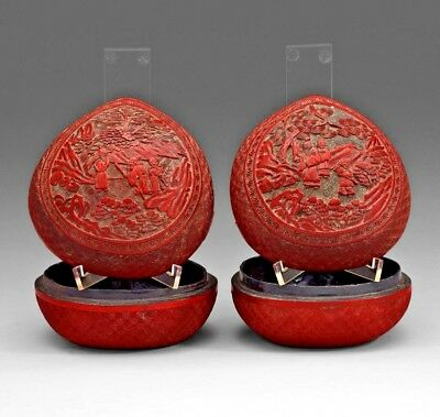 Pair Antique China Qing Dynasty Chinese Lacquered Box Red Cinnabar Carved 19Th C