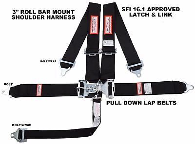 "Racerdirect.net 5 Point Sfi 16.1 Latch & Link 3"" Racing Belt Black Sportsman"
