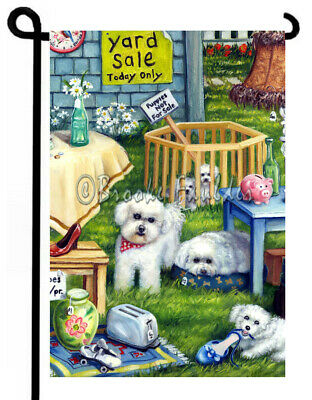BICHON FRISE painting GARDEN FLAG puppy Yard Sale Dogs ART Bichons