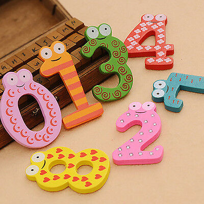 10pcs Number Large Cartoon Educational Toy Wooden Fridge Magnet for Baby Kid