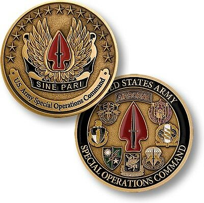 U.S. Army Special Operations Command - Sine Pari - USASOC Bronze Challenge Coin