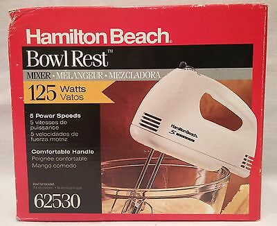 Hamilton Beach Bowl Rest Mixer 62530 Hand Held 5 Speeds Chrome Beaters Food