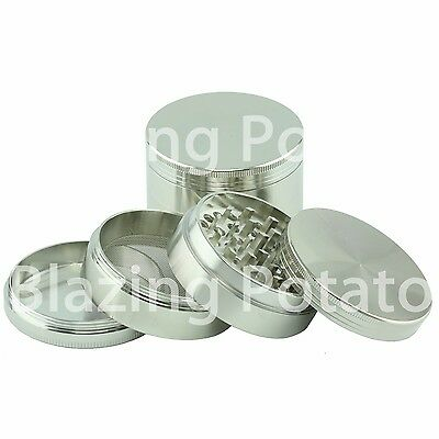 2.5 Inch 4 Piece Grinder Crusher Tobacco Herb Spice Zinc -USA Seller- SILVER