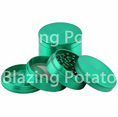 2.5 Inch 4 Piece Grinder Crusher Tobacco Herb Spice Zinc -USA Seller- GREEN