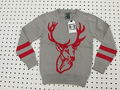 Boy's Cotton Knit Deer Sweater - Darker Gray (Size: 4,7, 14/16, 18/20)