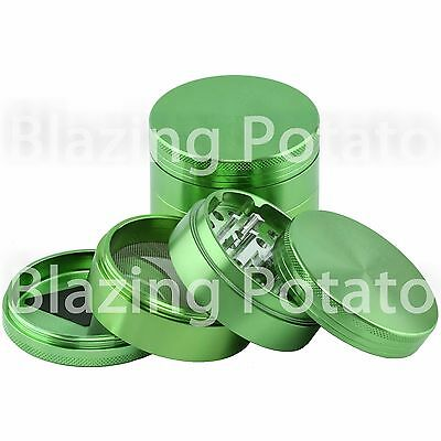 2.5 Inch 4 Piece Aluminum Grinder Crusher Tobacco Herb Spice -USA Seller- GREEN