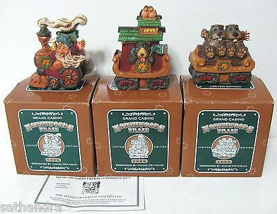David Frykman Northwoods Train Set Santa Claus Bear & Beavers Figurines Vtg 1998