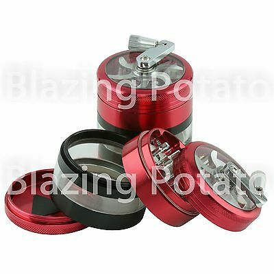 2.5 Inch 4 Piece Aluminum Handle Grinder Crusher Tobacco Herb Spice -USA- R/BK