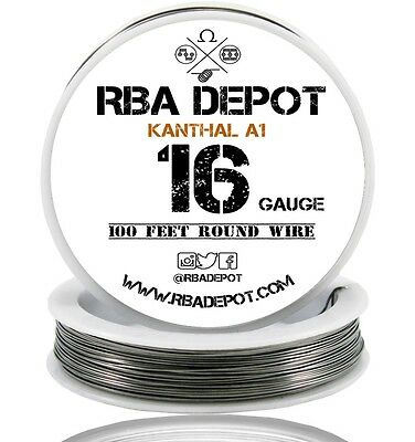 RBA Depot Kanthal A1 Wire 16 Gauge AWG 100ft 1.29mm 0.324 ohms/ft. Resistance