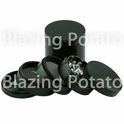2.5 Inch 5 Piece Aluminum Grinder Crusher Tobacco Herb Spice -USA Seller- BLACK