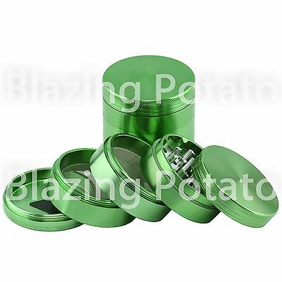 2.5 Inch 5 Piece Aluminum Grinder Crusher Tobacco Herb Spice -USA Seller- GREEN