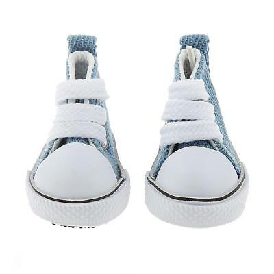Pair Flat Denim Blue Casual Lace Up Plimsoll Canvas Shoes for 1/6 BJD Doll