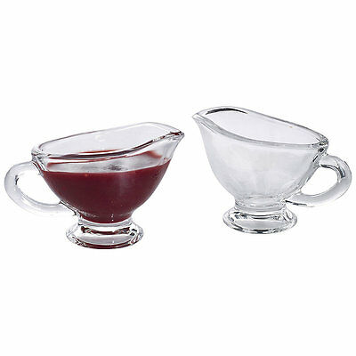 Set of 2 Artesa Elegant Mini Serving Glass Sauce Boats Jugs (40ml)