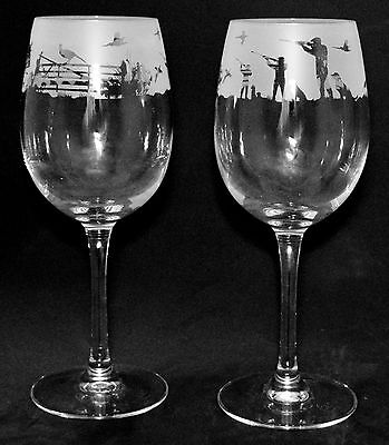 COUNTRY LIFE SHOOTING SCENE - Boxed PAIR 35cl WINE GLASS *Game Bird Gift*
