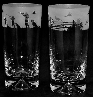 COUNTRY LIFE SHOOTING SCENE Boxed Pair Glass Highball Tumblers