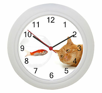 Ginger Cat Wall Clock  Our Photo Or Put Your Own Cat on a Clock ! • EUR 13,12