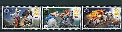 Kyrgyzstan KEP 2016 MNH 2nd World Nomad Games 3v Set Horses Nomads Sports Stamps