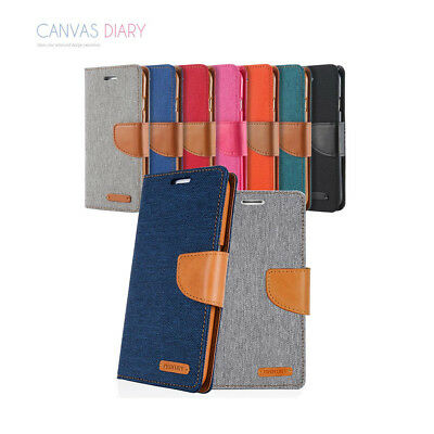 Premium Canvas Leather Wallet Cover Soft Gel Case for Samsung Galaxy S6 S7 edge