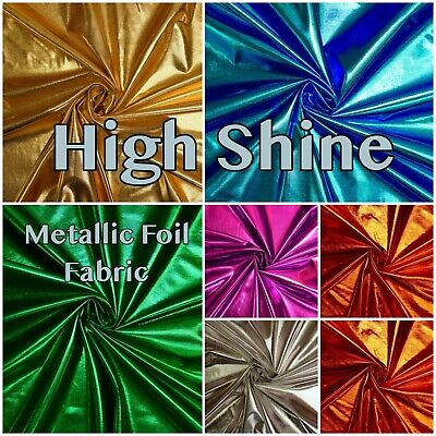High Shine Foil Mirror Metallic Dance Costume Leotard Stretch Dress Fabric