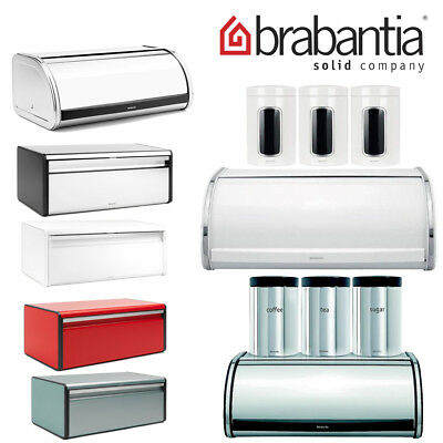 Brabantia Roll Top Bread Bin Canister Kitchen Storage Tea Coffee Sugar