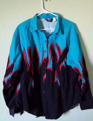 90's Brooks & Dunn Collection Panhandle Slim Button Up Western Shirt Flames L