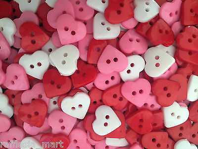 Resin Heart Buttons - Mix Colour - Cardmaking - Craft - Sewing (50 /100 pcs)